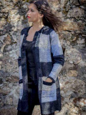 abrigo punto azul negro i95637 banes moda ramallosa nigran f