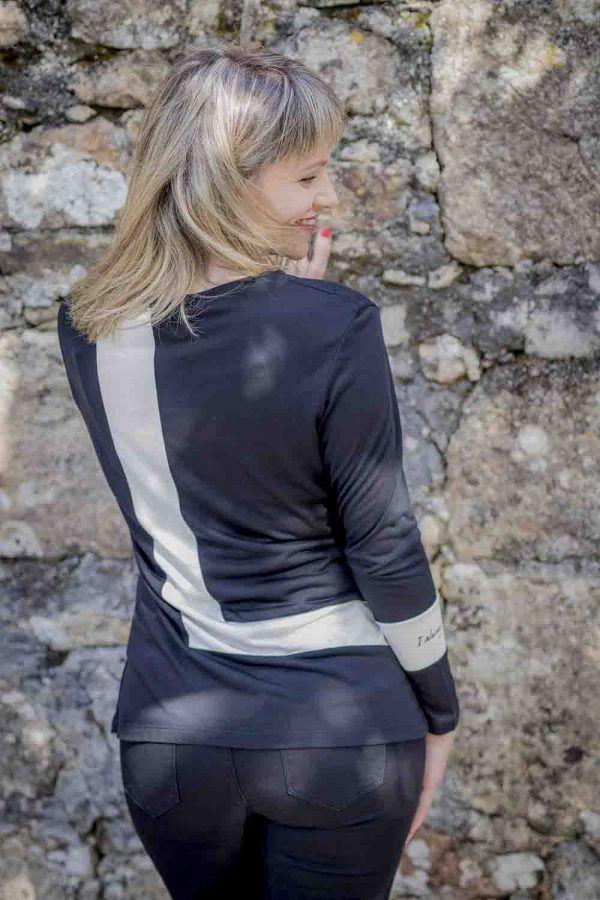 camiseta blanco y negro alba conde i96808 banes moda ramallosa nigran t