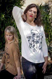 camiseta multicaras camel blanco oky i95921kebune banes moda ramallosa nigran f