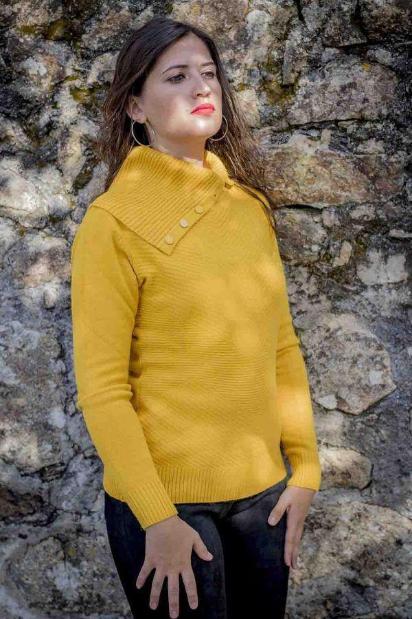 jersey mostaza maxi cuello i9940013 banes moda ramallosa nigran p