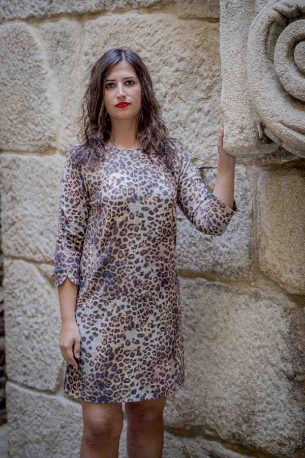 vestido animal print arggido i943195 banes moda ramallosa nigran f