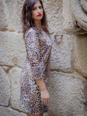 vestido animal print arggido i943195 banes moda ramallosa nigran p