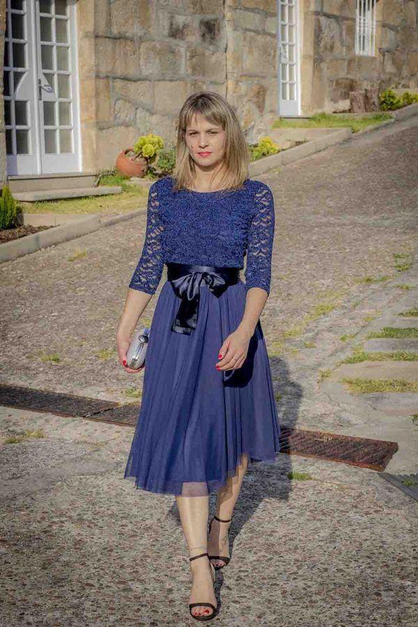 vestido azul coctel guipur i9130902 banes moda ramallosa nigran f