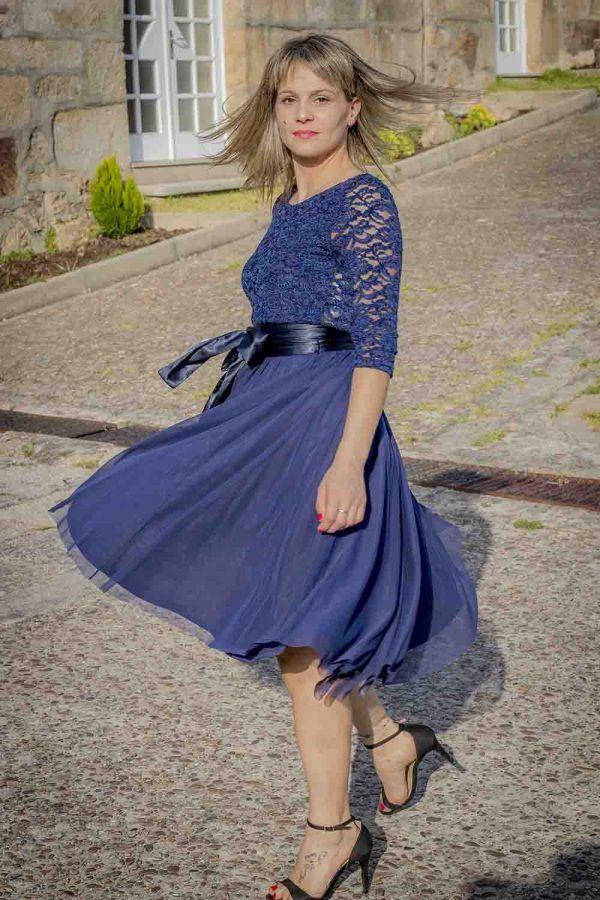 vestido azul coctel guipur i9130902 banes moda ramallosa nigran p