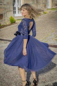 vestido azul coctel guipur i9130902 banes moda ramallosa nigran t