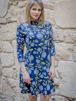 vestido azul hojas vuelo mdm i975502704 banes moda ramallosa nigran f