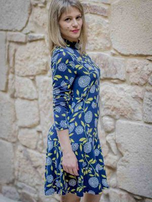 vestido azul hojas vuelo mdm i975502704 banes moda ramallosa nigran p