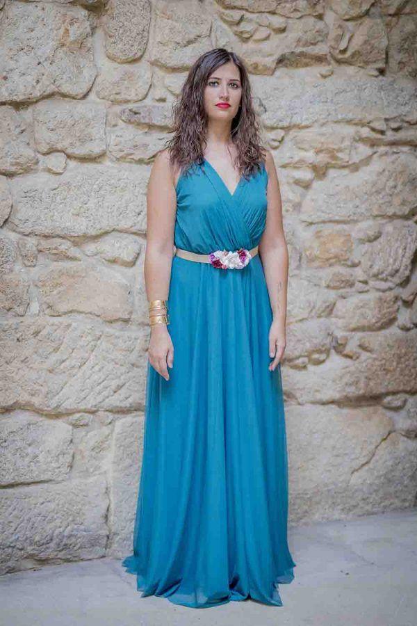 vestido largo azul fiesta i9033010b banes moda ramallosa nigran f