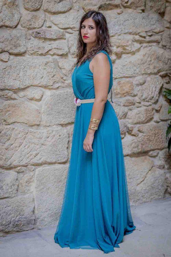 vestido largo azul fiesta i9033010b banes moda ramallosa nigran p