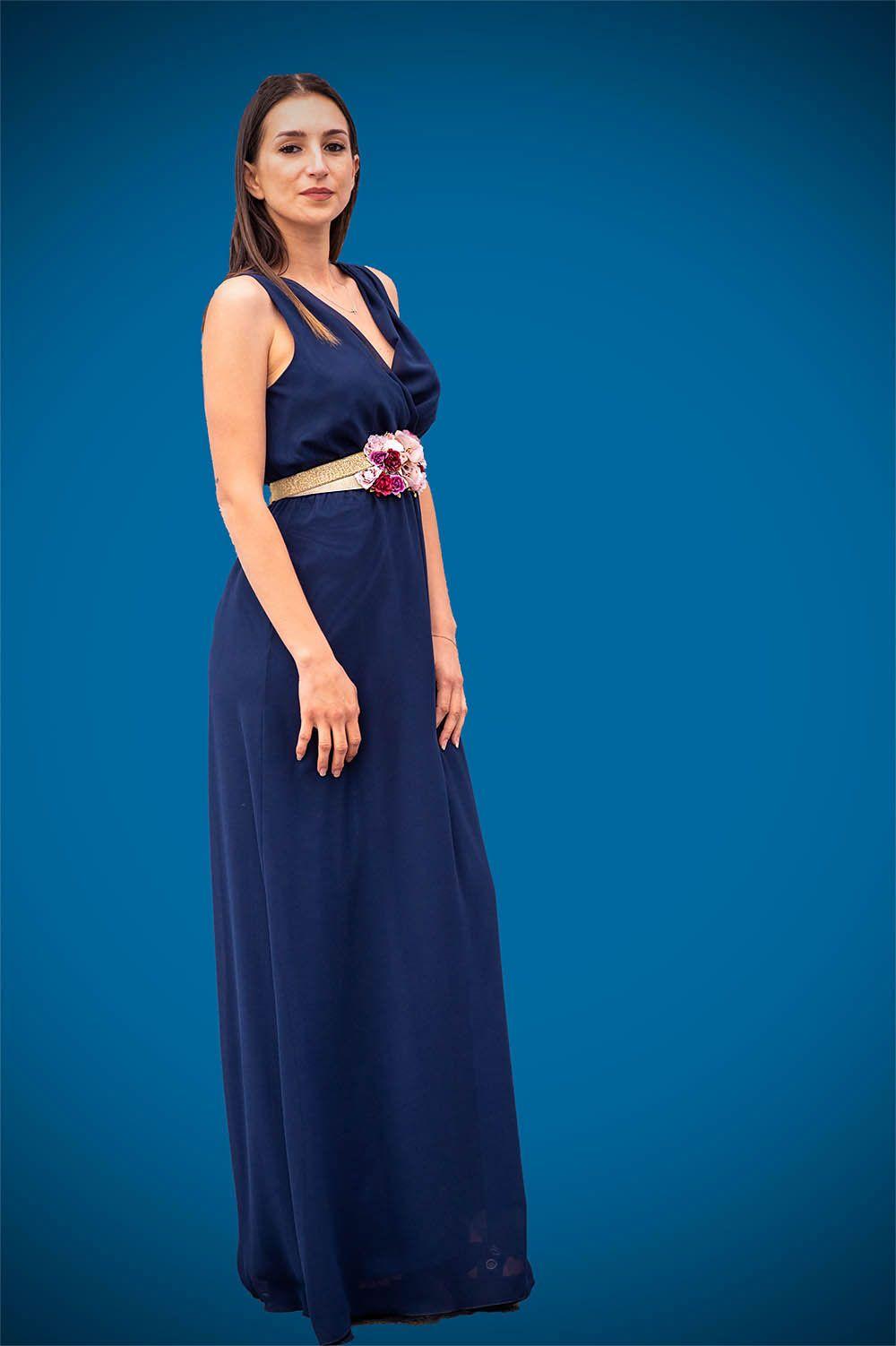 Vestido Azul Marino Cruzado Tienda Ropa Mujer Banes Moda