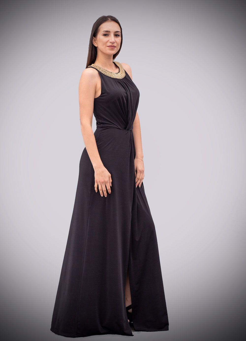 Vestido Negro Punto De Seda