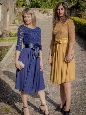 vestido mostaza o azul coctel guipur i9130902 banes moda ramallosa nigran f
