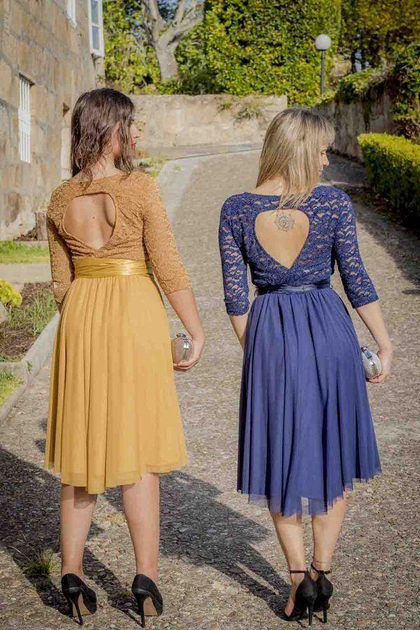 vestido mostaza o azul coctel guipur i9130902 banes moda ramallosa nigran t