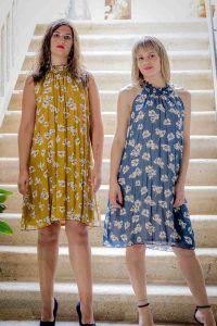 vestido mostaza o azul halter i903311 banes moda ramallosa nigran f