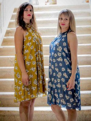 vestido mostaza o azul halter i903311 banes moda ramallosa nigran p