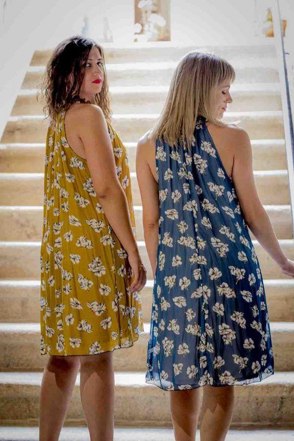 vestido mostaza o azul halter i903311 banes moda ramallosa nigran t