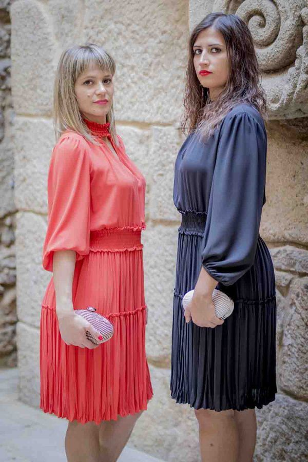 vestido negro o naranja oky i97935 banes moda ramallosa nigran p