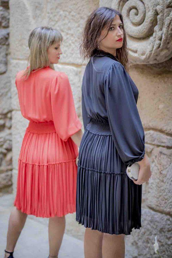 vestido negro o naranja oky i97935 banes moda ramallosa nigran t