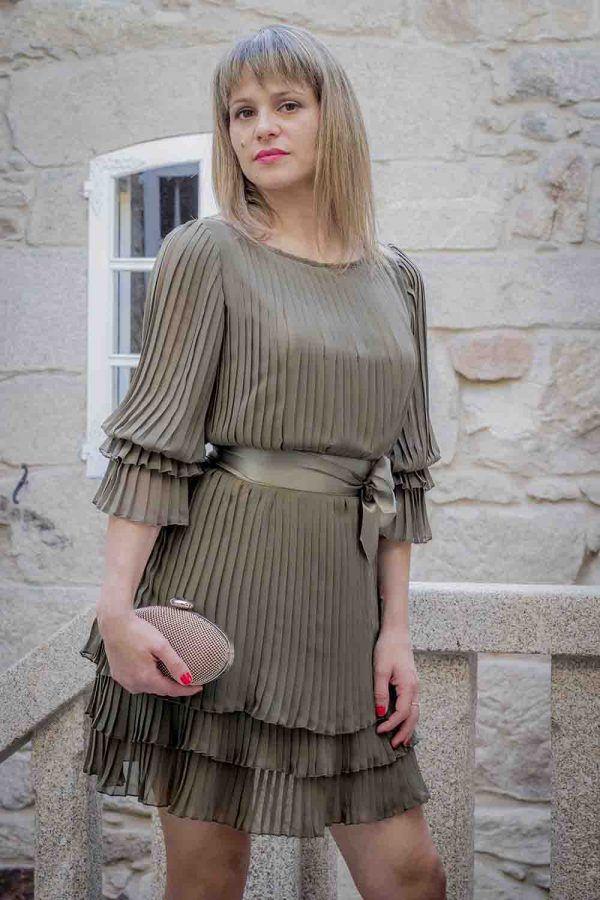 vestido plisado kaki o azul i9267532 banes moda ramallosa nigran f