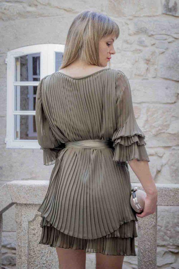 vestido plisado kaki o azul i9267532 banes moda ramallosa nigran t