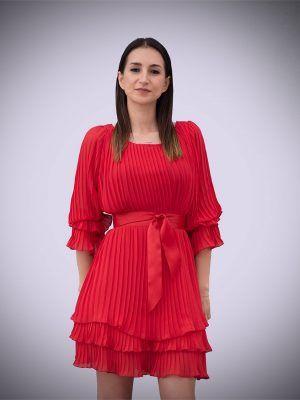 vestido-plisado-rojo-amarillo-manga-larga-banes-moda-ramallosa-nigran-f